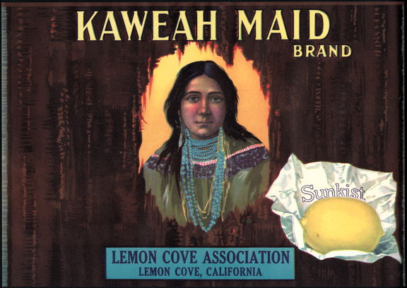 #ZLC269 - Kaweah Maid Sunkist Crate Label with Indian Maid