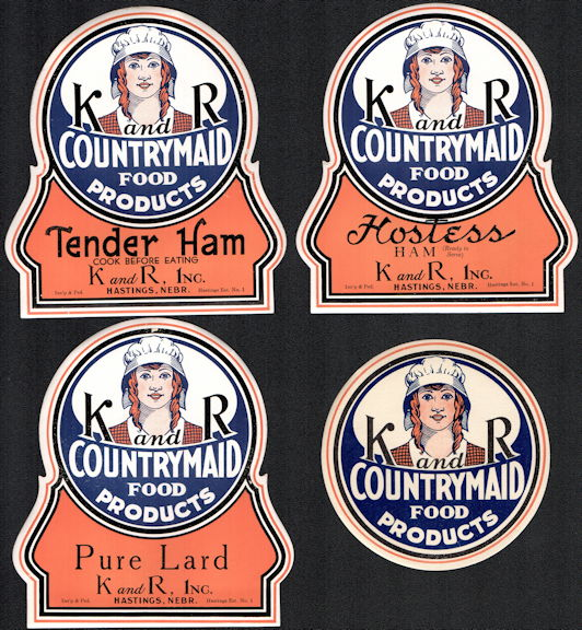 #ZBOT424 - Group of 4 Different K and R CountryMaid Food Products Labels