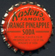 #BC182 - Group of 10 Kasten's Famous Orange-Pineapple Cork Lined Soda Bottle Caps