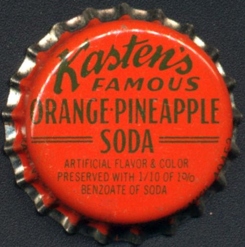 #BC182 - Group of 10 Kasten's Famous Orange-Pineapple Cork Lined Soda Bottle Caps