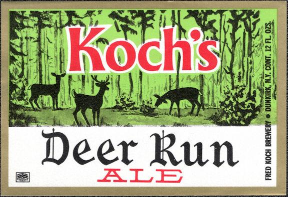 #ZLBE131 - Koch's Deer Run Ale Bottle Label - Dunkirk, NY
