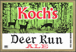 #ZLBE131 - Koch's Deer Run Ale Bottle Label - Dunkirk, NY