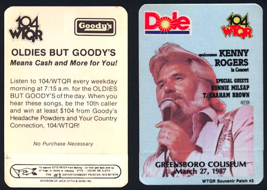 ##MUSICBP0120 - Kenny Rogers OTTO Cloth Radio Pass for 1987 Concert at Greensboro Coliseum - Radio 104 WTQR