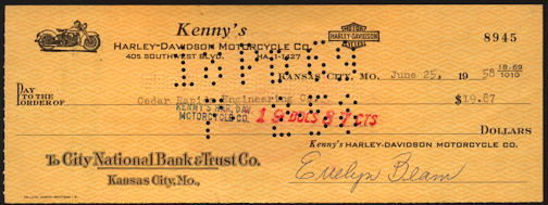 #ZZZ170  - Check from Kenny's Harley-Davidson Motorcycle Co. - Pictures a Harley Panhead Motorcycle