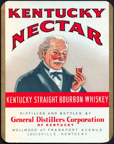 #ZLW153 - Rare Kentucky Nectar Whiskey Bottle Label Picturing Kentucky Colonel