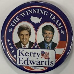 #PL385 - Large Licensed Winning Team Jugate Kerry Edwards Pinback