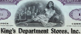 #ZZCE067 - King's Department Stores, Inc. Stock Certificate