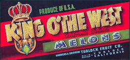 #ZLSH017 - Group of 12 King O' the West California Westside Melons Crate Label