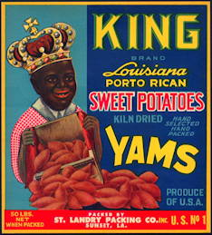 #ZLC407 - King Louisiana Porto Rican Sweet Potatoes Crate Label - Black Interest