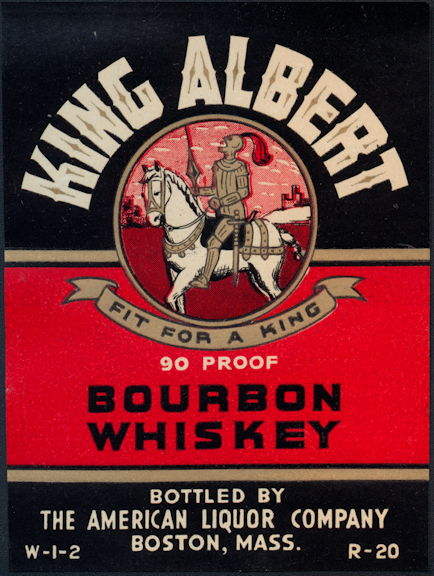 #ZLW164 - Scarce King Albert Bourbon Whiskey Bottle Label