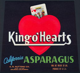 #ZLC372 - King o' Hearts California Asparagus Crate Label
