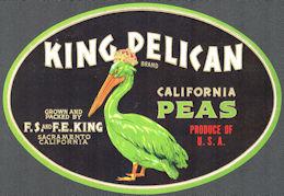 #ZLC469 - King Pelican California Peas Crate Label - Sacramento, California