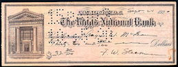 #ZZZ149 - Old Check from The Riggs National Bank in Washington, D.C.