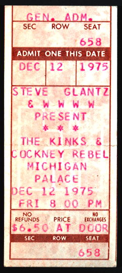 ##MUSICBP0220 - Rare 1975 The Kinks & Cockney Rebel Ticket from the Michigan Palace