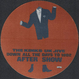"""##MUSICBP0920 - The Kinks OTTO Cloth """"After Show"""" Backstage Pass from the UK Jive Tour"""