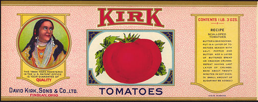 #ZLCA136 - Very Rare Kirk Tomatoes Can Label with Indian