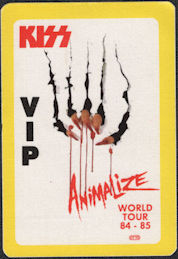 ##MUSICBP0624  - Scarce 1984 KISS OTTO Cloth Backstage Pass from the Animalize Tour