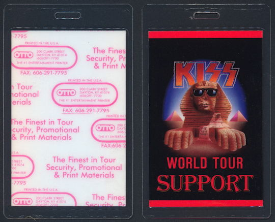 ##MUSICBP0161 - KISS Laminated All Area OTTO Backstage Pass for the 1990 Hot in the Shade Tour