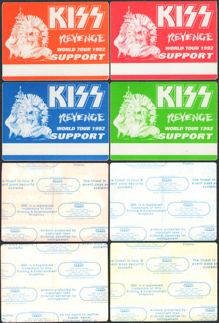 ##MUSICBP0826 - Group of Four Different KISS OTTO cloth Backstage Support Passes from the 1992 Revenge Tour