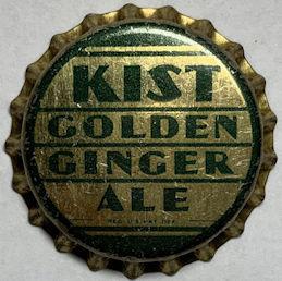 #BC236 - Group of 10 Scarce Cork Lined Kist Golden Ginger Ale Soda Bottle Caps - Deco Design
