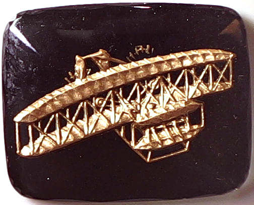 #BEADS0469 - Large 27mm Black and Gold Intaglio with Wright Brothers Plane - As low as $1 each