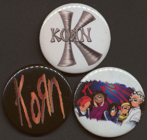 "##MUSICBG0075  -  Trio of Licensed ""Korn"" Pinbacks from 1999"
