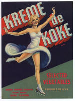 #ZLC239 - Kreme de Koke Vegetable Crate Label with Skater - Pinup Art