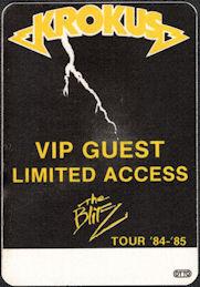 ##MUSICBP0032  - 1984/85 Krokus The Blitz Tour VIP/Guest OTTO Backstage Pass