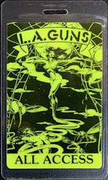 ##MUSICBP0311 - L.A. Guns Laminated OTTO All Access Backstage Pass from the 1989-90 Tour - DayGlo Green