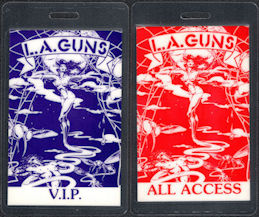 ##MUSICBP0355 - Pair of L.A. Guns Laminated OTTO Backstage Passes from the 1989-90 Tour - All Access and VIP
