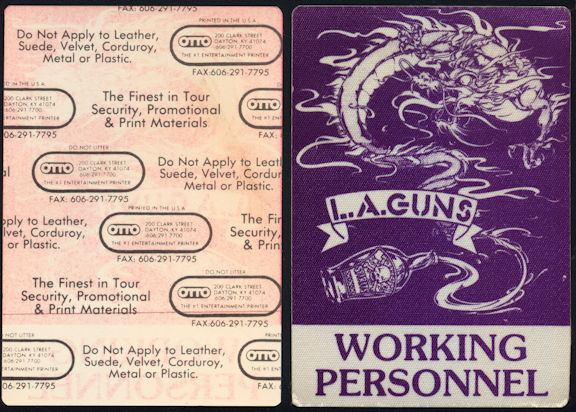 ##MUSICBP0406 - Uncommon L.A. Guns OTTO Cloth Working Personnel Backstage Pass from the 1990 Cocked and Loaded Tour