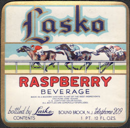 #ZLS247 - Lasko Raspberry Soda Bottle Label - Racehorses