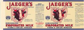 #ZLCA033 - Jaeger's Evaporated Milk Can Label