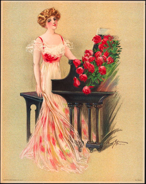 #MS154 - 1909 Victorian Print - Lady at the Piano with Red Roses