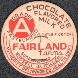 #DC240 - Fairland Farms Chocolate Flavored Milk Bottle Cap - Sunbury, Ohio