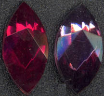 #BEADS0192 - Large Faceted and Foiled 18mm Glass Navettes