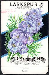#CE011 - Giant Imperial Double Sky Blue Larkspur Lone Star 10¢ Seed Pack - As Low As 50¢ each