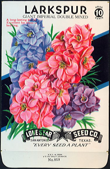#CE010 - Giant Imperial Double Mixed Larkspur Lone Star 10¢ Seed Pack - As Low As 50¢ each