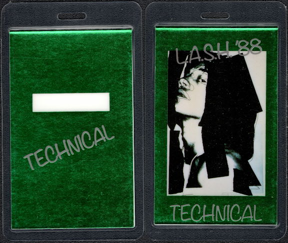 ##MUSICBP0511 - Rare Mick Jagger Solo Career PERRI Technical Laminated Backstage Pass from the Lash Tour - Andy Warhol Designed Pass