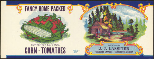 #ZLCA153 - Uncommon Lassiter Fancy Home Packed Corn-Tomatoes Can Label