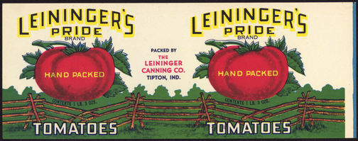 #ZLCA172 - Leininger's Pride Tomatoes Can Label
