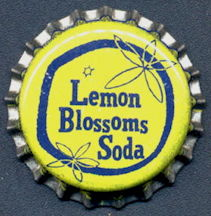 #BC146 - Group of 10 Cork Lined Lemon Blossoms Soda Bottle Caps