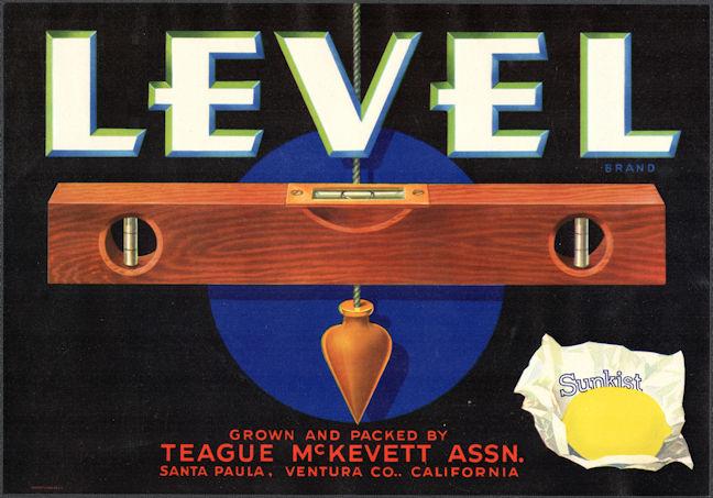 #ZLC472 - Level Brand Sunkist Lemon Crate Label - Capenter's Level - Santa Paula, CA