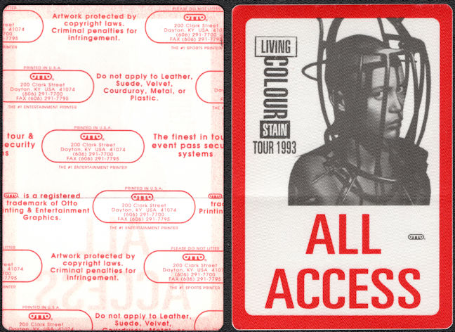 ##MUSICBP0169 - Living Colour All Access OTTO Cloth Backstage Pass From the 1993 Stain Tour