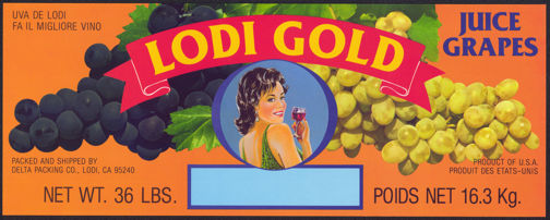 #ZLSG096 - Lodi Gold Grape Crate Label - Flirtatious Lady