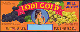 #ZLSG096 - Lodi Gold Grape Crate Label - Flirtatious Lady