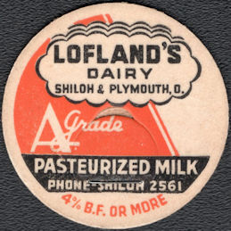 #DC245 - Lofland's Dairy Pasteurized Milk Bottle Cap - Shiloh & Portsmouth, Ohio