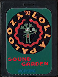 ##MUSICBP0491  - Rare 1992 Lollapalooza Laminated Backstage Pass for Sound Garden - Chris Cornell