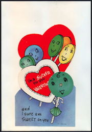 #HH190 - Large Diecut Mechanical Valentine with Lollipops with Faces and with Original Envelope