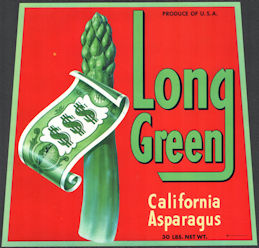 #ZLC465 - Long Green Brand California Asparagus Crate Label